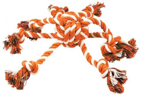 Preťahovadlo DOG FANTASY chobotnica oranžovo-biela 45cm