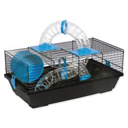 Small Animals Klietka pre malé hlodavce s tunelom čierna, výbava modrá 50,5x28x21 cm