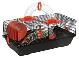 Klietka pre malé hlodavce s tunelom čierna, výbava červená 50,5*28*21 cm