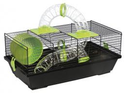 Klietka pre malé hlodavce s tunelom čierna, výbava zelená 50,5*28*21 cm