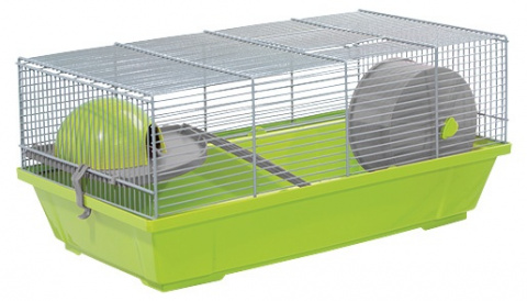 Small Animals klietka pre malé hlodavce šedo-zelená, výbava šedá 50,5*28*25 cm title=