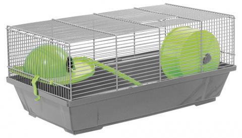 Small Animals klietka pre malé hlodavce šedá, výbava zelená 50,5*28*25 cm title=
