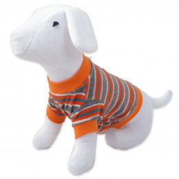 Tričko DOG FANTASY s prúžkami oranžové L