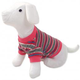 Tričko DOG FANTASY s prúžkami ružové L