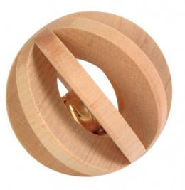 Lamelova lopticka so zvoncekom drevena 6 cm