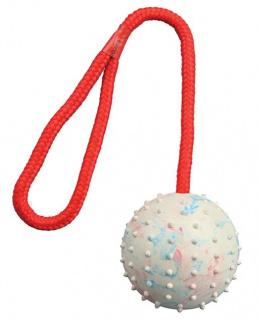 Hracka lopta pestra z prir. gumy 7 cm, snura 30 cm