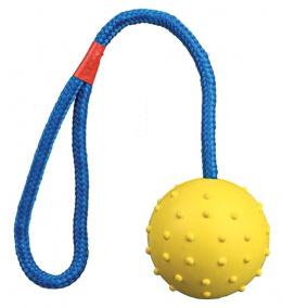 Hracka lopta z prir. gumy 6 cm snura 30 cm