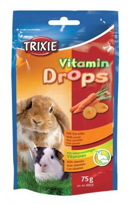 Vitaminove dropsy pre hlodavcov, s kuskami mrkvy, 75 g