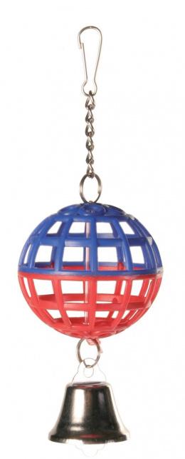 Trixie hračka mriežkovaná lopta s reťazou a zvončekom 4,5 cm