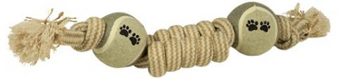 Preťahovadlo DOG FANTASY Juta rybí cop + 2 loptičky 36cm