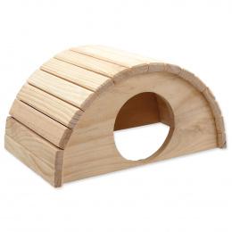 Domček SMALL ANIMAL Polkruh drevený 31 x 20 x 15,5 cm