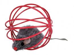 Hracka lopta kovova derava s myskou 6cm