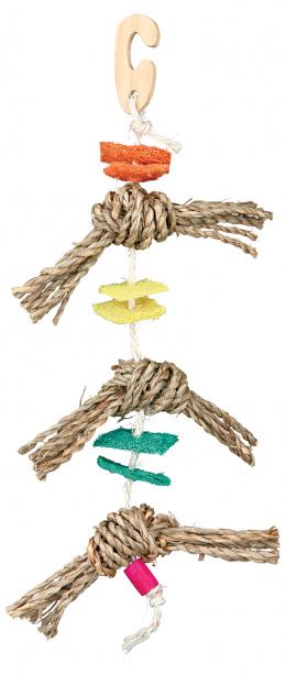 Hračka pre vtáky prirodný materiál 43 cm