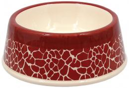 Miska DOG FANTASY keramická potisk žirafa červená