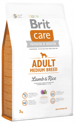 Brit Care Adult Medium Breed Lamb a Rice 3 kg