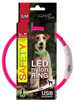 Obojok DF LED nylon ruzovy 45cm