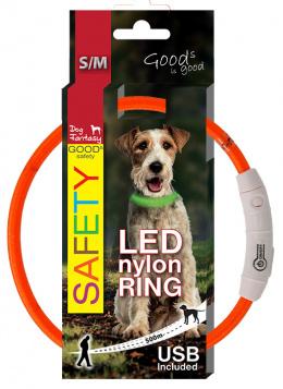 LED svetelný obojok z nylonu oranžový 45 cm