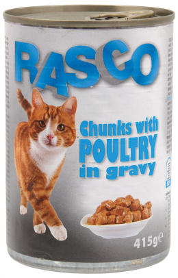 Konzerva Rasco Cat hydinove kusky v stave 415g