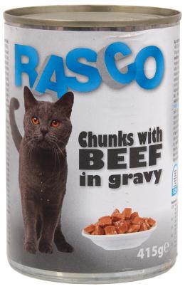Konzerva Rasco Cat hovadzie kusky v stave 415g