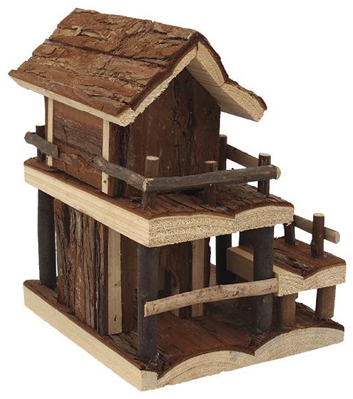 Domcek SA Dvojposchodovy dreveny s korou 17x15x20cm