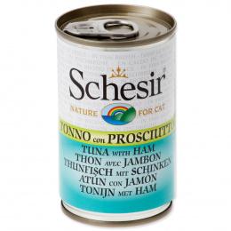 SCHESIR Cat konzerva pre mačky s tuniakom a šunkou 140 g