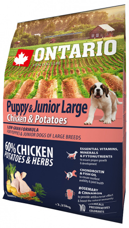 ONTARIO dog puppy junior large 2,25 kg kura a bylinky