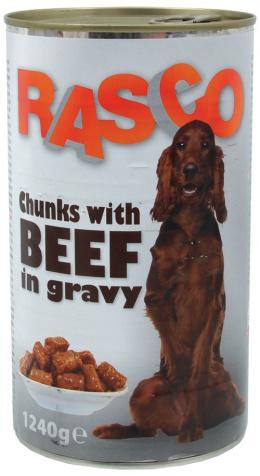 Konzerva Rasco Dog hovadzie kusky v stave 1240g