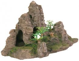 Skalný útvar s jaskyňou a rastlinami 22 cm
