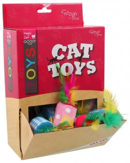 Magic Cat hračka valček bavlnený s pierkom 5 cm