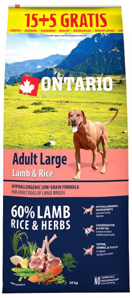 Ontario granuly Adult Large jahňa a ryža 15+5 kg zdarma