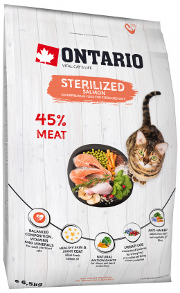 Ontario Cat Sterilised losos 6,5kg + barel zadarmo