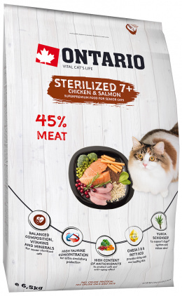 Ontario Cat Sterilised 7+ 6,5kg + barel zadarmo