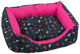 Dog Fantasy Sofa origami pes mix čierno-ružova 63x53x18cm