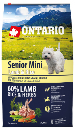 Ontario granuly Senior Mini jahňa a ryža 6,5 kg