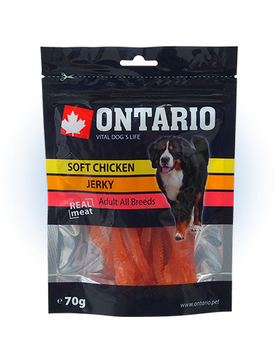 ONTARIO Natural Meat Dog Snack Soft Chicken Jerky 70g title=