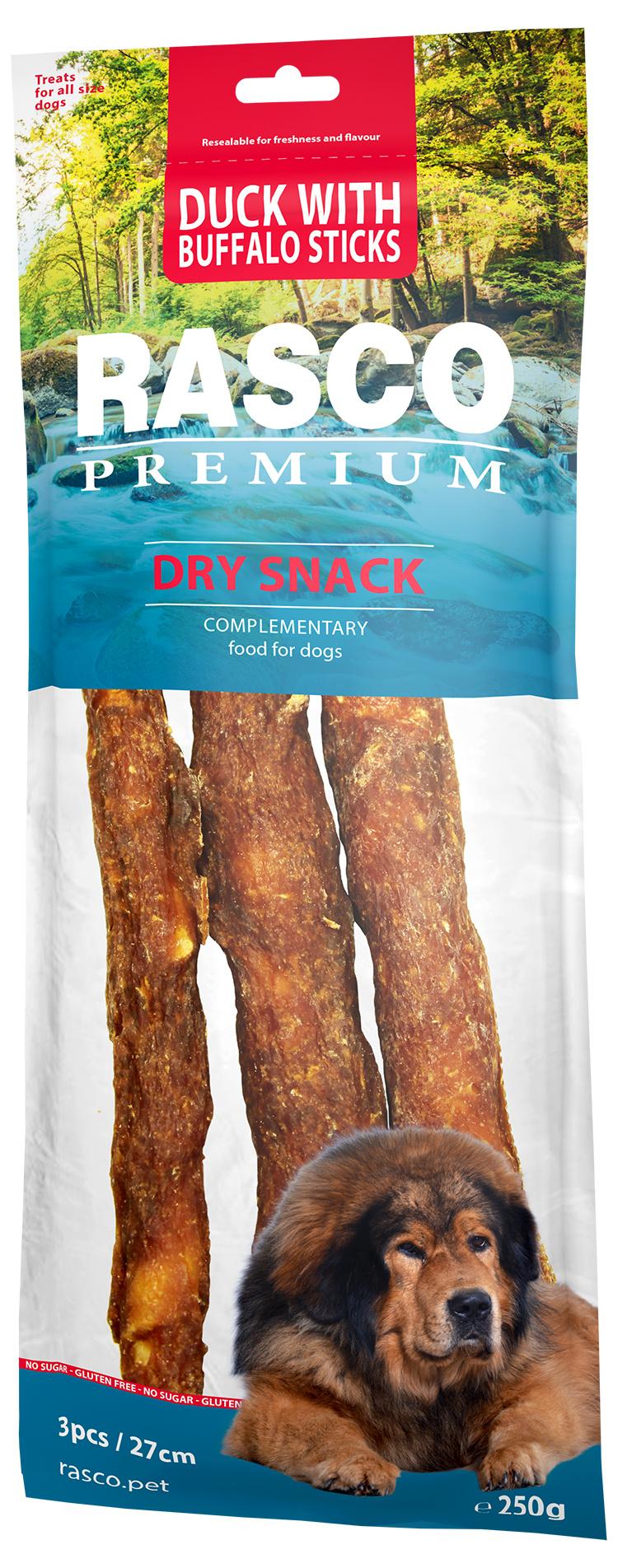 RASCO Premium pochúťka 7 cm tri byvolie tyčinky obalené kačacím mäsom 250g