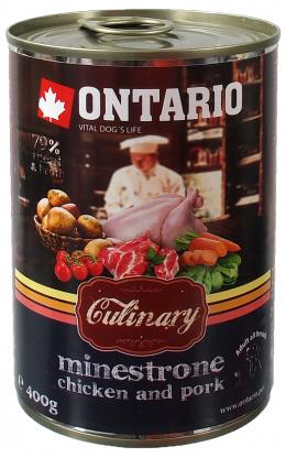 Ontario Dog konzerva Culinary 400 gminestrone kura a bravčové