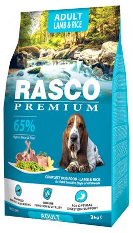 RASCO dog granuly pre psy adult sensitive 3 kg jahňa a ryža + Magazín 3/4