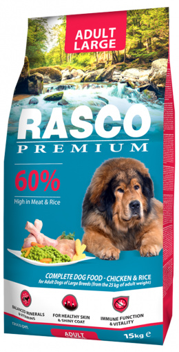 RASCO premium granuly pre psy adult large 15 kg + Magazín 3/4 large