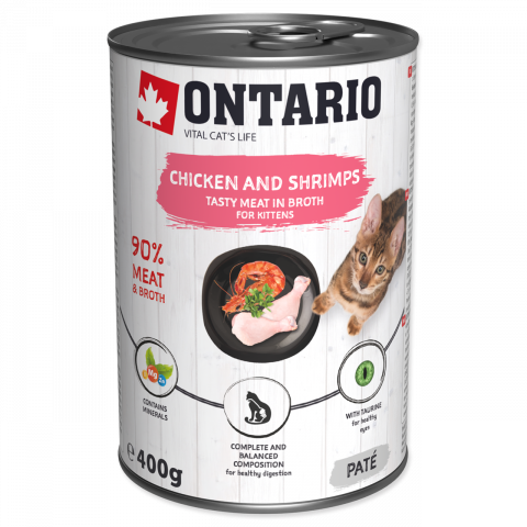 ONTARIO konz.Kitten Chicken, Shrimp, Rice and Salmon Oil 400g
