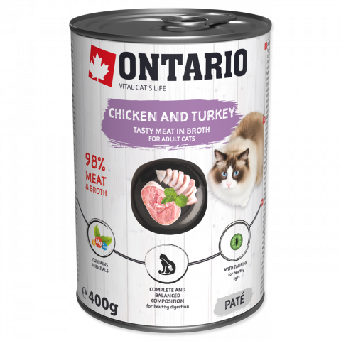 ONTARIO konz.Chicken, Turkey,Salmon Oil 400g title=