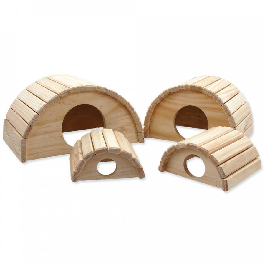 Domček SMALL ANIMAL Polkruh drevený 15 x 13 x 7,5 cm