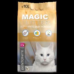 Kočkolit podstieľka pre mačky Magic Litter Bentonite Ultra White Baby Powder 10 l