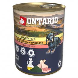 Ontario konzerva Puppy mleté kuracie s príchuťou spiruliny a s lososovým olejom 800g