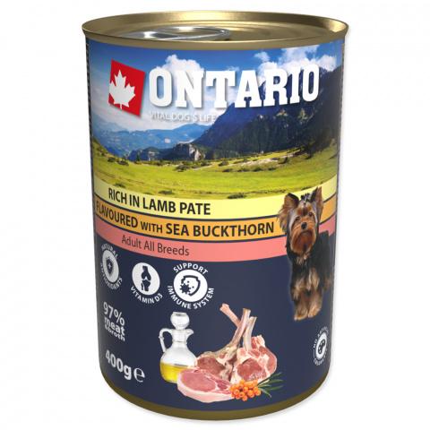 Ontario konzerva Paté obohatené jahňacím s príchuťou rakytníku 400g title=