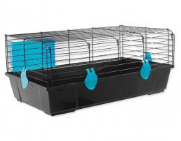 Small Animals klietka pre králiky a morčatá čierna, výbava modrá 80x46x35 cm