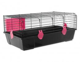 Small Animals klietka pre králiky a morčatá čierna, výbava červená 80x46x35 cm