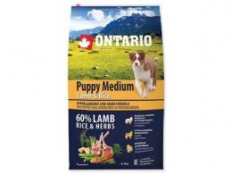 Ontario granuly Puppy Medium jahňa a ryža 6,5 kg
