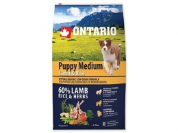 Ontario Puppy Medium Lamb & Rice + konzerva zadarmo