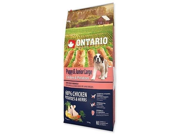 Ontario granuly Puppy & Junior Large kura a zemiaky 12 kg